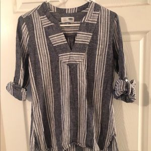 Navy and white linen tunic